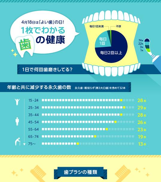 インフォグラフィックス:4月18日は「よい歯」の日!1枚でわかる歯の健康